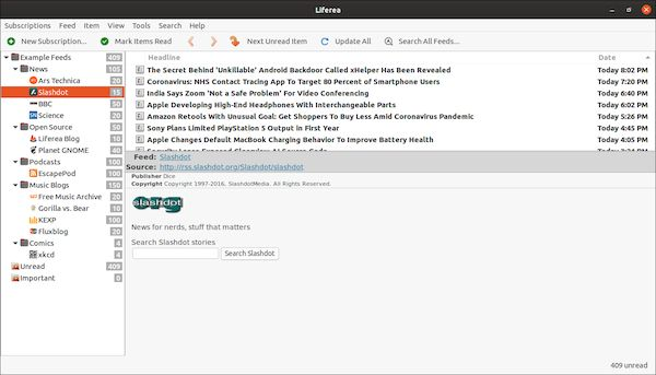 Como instalar o leitor de feeds Liferea no Linux via Snap