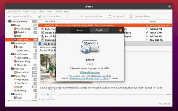 Liferea 1.3.2 lançado com suporte a MediaRSS e mais