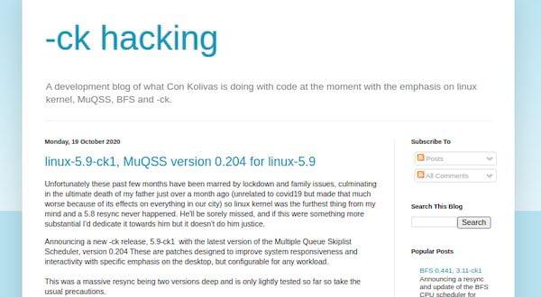 Kernel 5.9-ck1 lançado com Multiple Queue Skiplist Scheduler atualizado