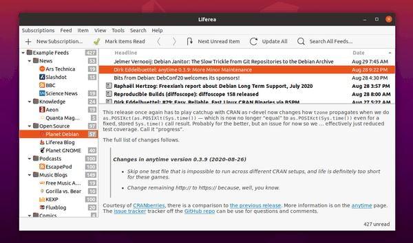 Liferea 1.3.3 lançado com Webkits Intelligent Tracking Protection e mais