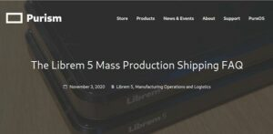 Librem 5 de produção em massa começou a ser enviado aos clientes