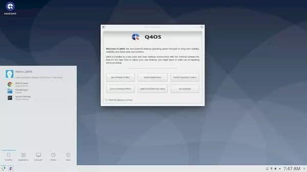 Q4OS 3.13 lançado com base no Debian 10.7, patches e correções de bugs