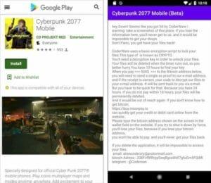 Ransomware está sendo distribuído como Cyberpunk 2077 mobile