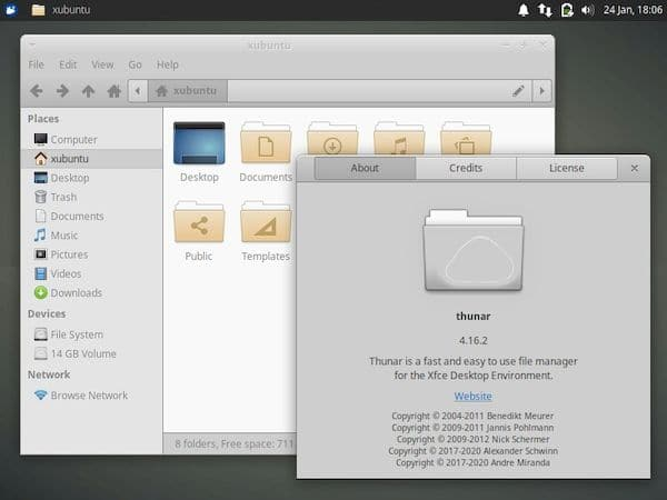 Thunar 4.17 lançado com visualização dividida, tempos de criação de arquivo e muito mais