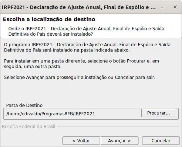 Como instalar o programa IRPF 2021 no Linux via arquivo BIN