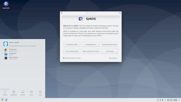 Q4OS 3.14 lançado com base no Debian Buster 10.8 e traz correções importantes