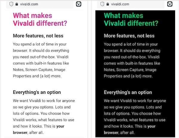 Vivaldi para Android permite que você altere a aparência dos sites