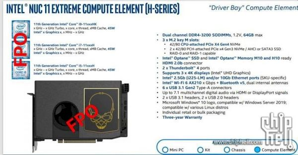 ChipHell vazou dados do Intel NUC11 Extreme Compute Element