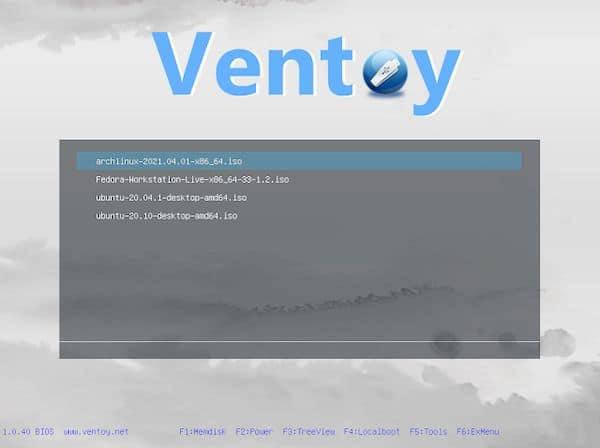 Ventoy 1.0.40 lançado com suporte de persistência para Arch e Fedora