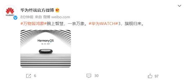 Huawei confirmou oficialmente que Huawei WATCH 3 usará o HarmonyOS