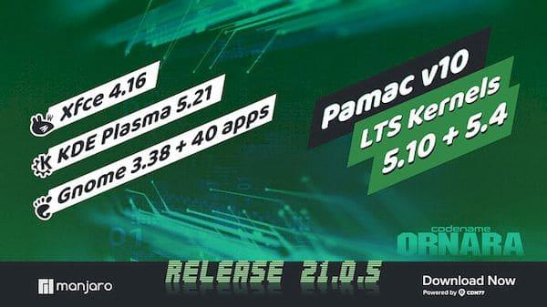 Manjaro 21.0.5 lançado com diversas atualizações de pacotes e mais