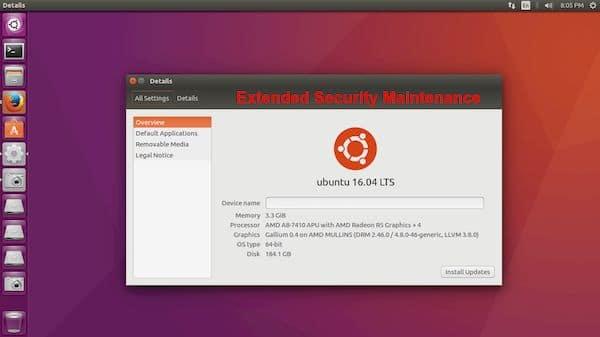Ubuntu 16.04 LTS agora é coberto pela Extended Security Maintenance
