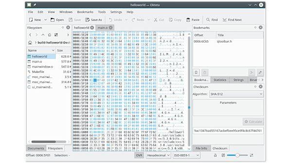 Como instalar o editor hexadecimal Okteta no Linux via Flatpak