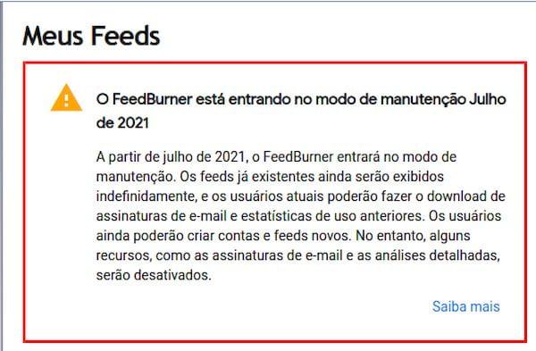 FeedBurner entra em modo de manutenção em julho