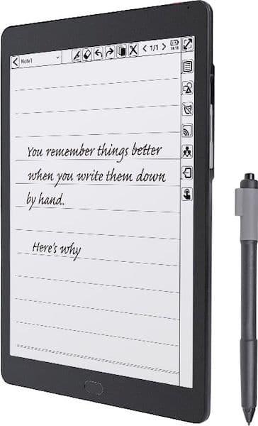 KloudNote, um tablet E Ink com suporte para caneta e software Android