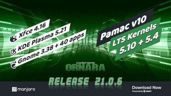 Manjaro 21.0.6 lançado com KDE Gear 21.04.1, Cutefish DE e mais