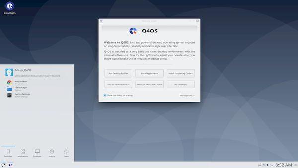 Q4OS 3.15 dirilis dengan patch dan berdasarkan Debian Buster 10.10