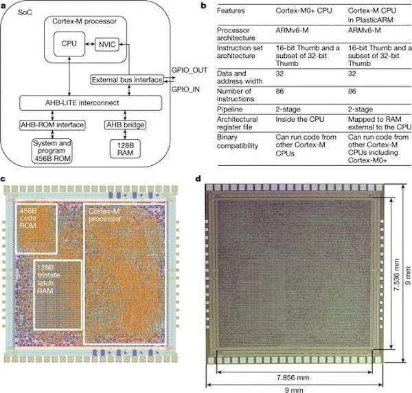 PlasticARM da ARM, um microprocessador flexível feito de plástico em vez de silício