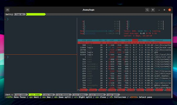 Zellij 0.15.0 lançado com execução de comandos ao carregar um layout